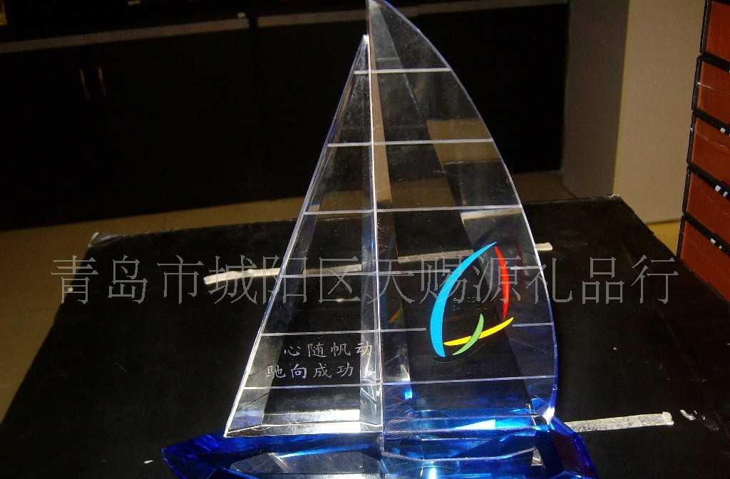 供应最新工艺品 水晶礼品 青岛特色礼品 水晶帆船