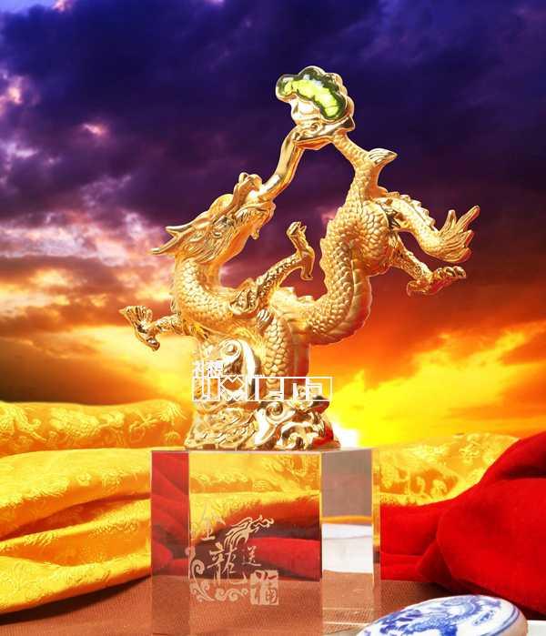 金龙送福 龙年工艺礼品 新年商务礼品 商务装饰品摆件