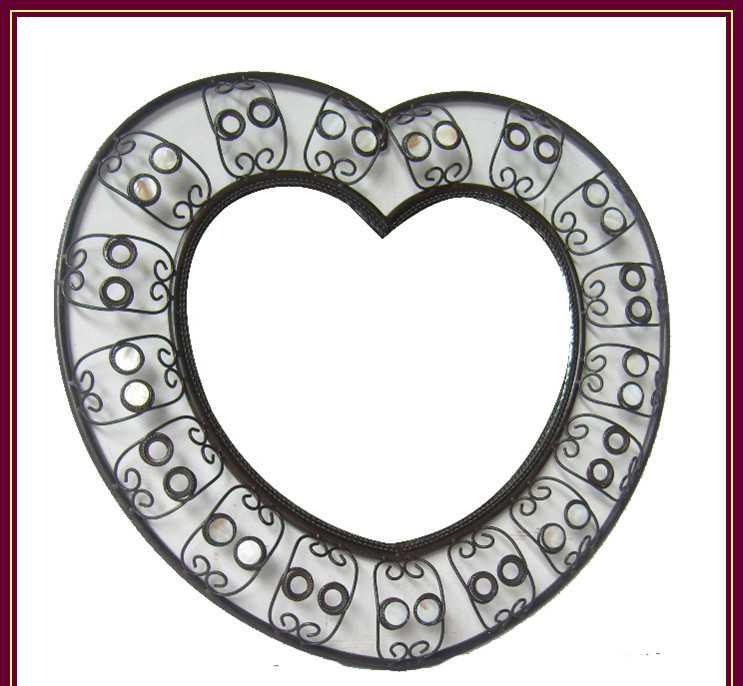 欧式心形陶瓷珠铁艺镜框 浴室镜框 梳妆镜 化妆镜