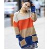 供应2012新款时尚大方女性潮流韩版配色宽彩虹条双口袋时尚百搭毛衣