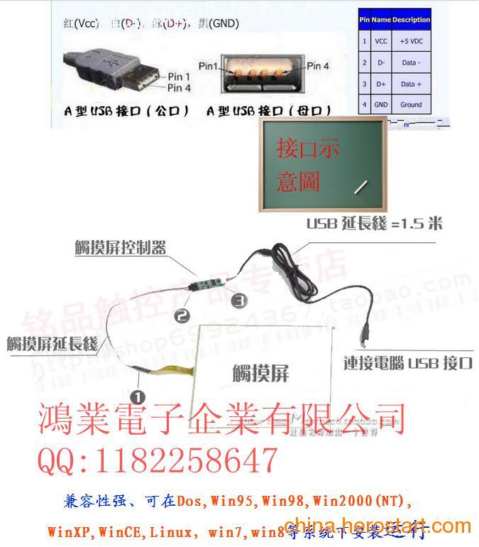 供应五线电阻式触摸屏USB控制器
