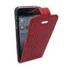 供应iphone5 上下开 时尚 鳄鱼纹 红色保护套