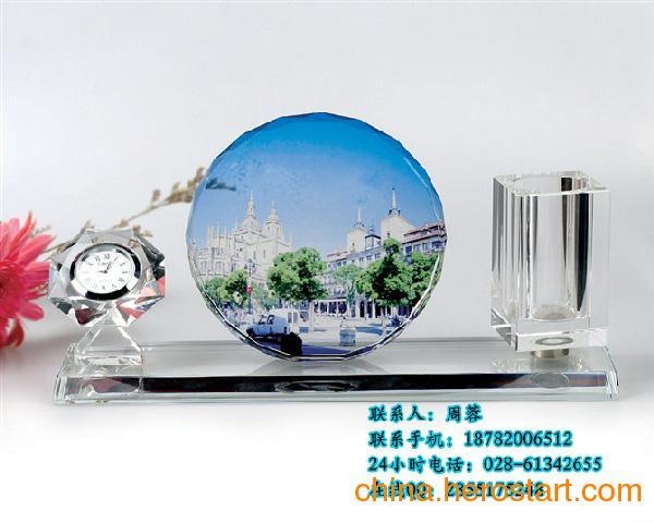 供应四川师生聚会纪念品水晶笔筒、水晶办公礼品、成都水晶礼品批发工厂
