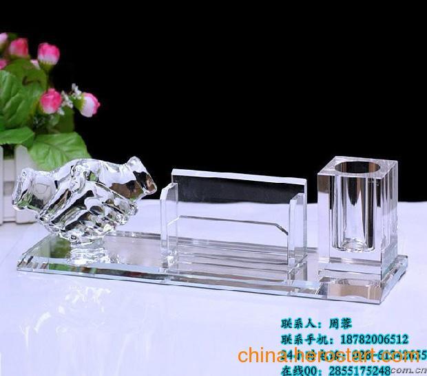 企业周年会议送什么礼品? 企业水晶办公用品 水晶笔筒  水晶工艺品批发供应商