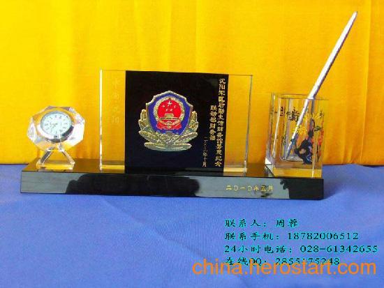 供应水晶办公摆件、水晶三件套件 水晶笔筒套件环典水晶笔筒套件送顾客送朋友