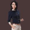 供应2013韩版夏装女装衬衫拼接通勤黑色蝴蝶结长袖打底女衬衣