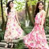 供应2013夏装女装波西米亚大码粉色无袖碎花圆领连衣裙