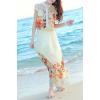 供应2013韩版修身杏色定位花松紧雪纺短袖立领连衣裙