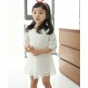 供应广东产地韩版品牌童装白色夏季蕾丝中大女童中袖连衣裙