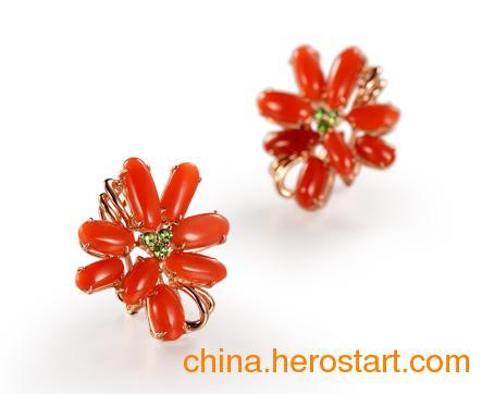 供应上海红珊瑚耳饰
