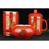 供应南通雨杭LSK-HCB中国红办公三件套红瓷杯产品系列