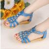 供应2013夏季韩版新款露趾平底水钻女凉鞋波西米亚鞋罗马鞋平跟女鞋
