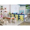 供应0449系列环保绿色松木家具电脑套装桌椅