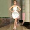 供应米白色短款小礼服 伴娘礼服裙 厂家质量保证 欢迎代理加盟