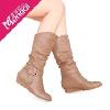 大牌同款女靴 可做大码 别致搭扣优雅褶皱中筒靴 坡跟长靴feflaewafe