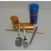 供应不锈钢三件套餐具/折叠筷子/不锈钢叉勺/创意餐具套装/不锈钢餐具批发