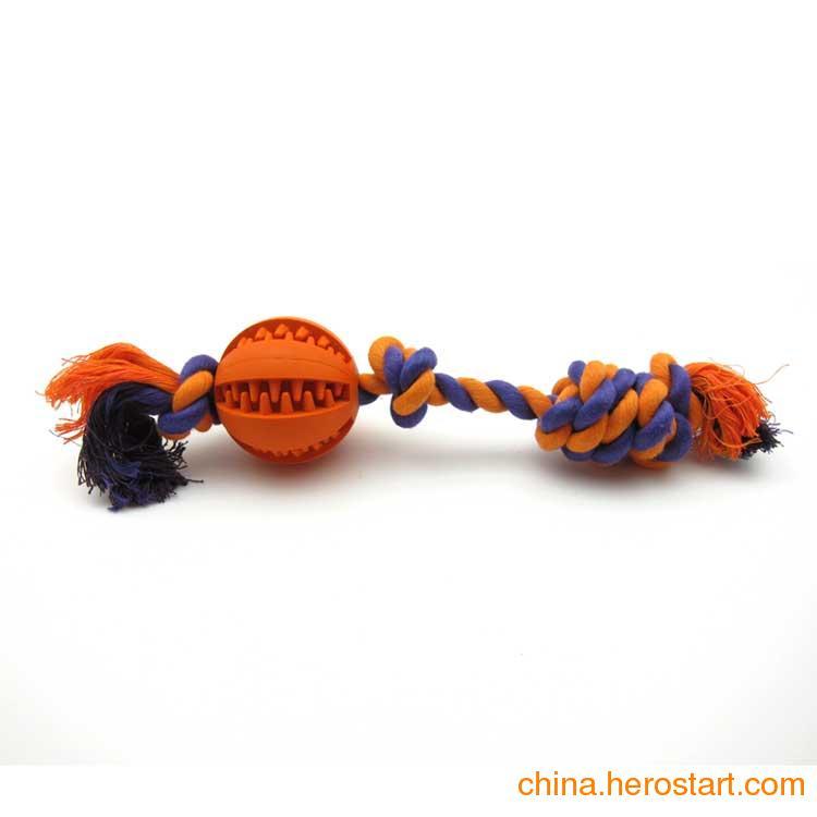 供应橡胶洁齿圆球连绳结-6.0CM