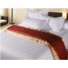 供应酒店宾馆床上用品全棉纯棉缎条纯色素色床单床笠式三四件套