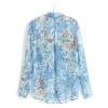 供应2013夏新款女装欧美专柜复古蝴蝶兰印花雪纺长袖女式衬衫 批发