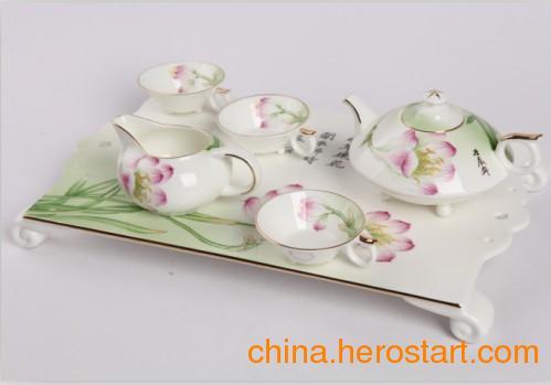 供应9头手绘赏花长方托盘骨质瓷茶具