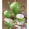 供应15头翡翠绿彩蝶骨质瓷咖啡具