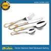 供应外贸热销产品 高档不锈钢刀叉 不锈钢镀金餐具 镀金刀叉勺