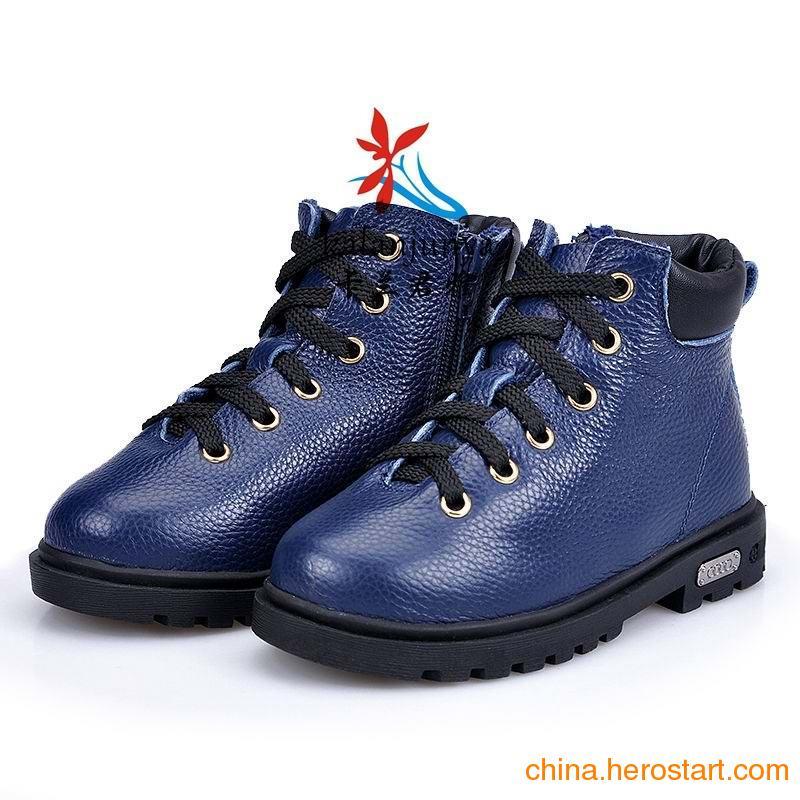 供应广州童鞋批发厂家直供 马丁靴 雪地靴儿童短靴 男女童牛皮短靴