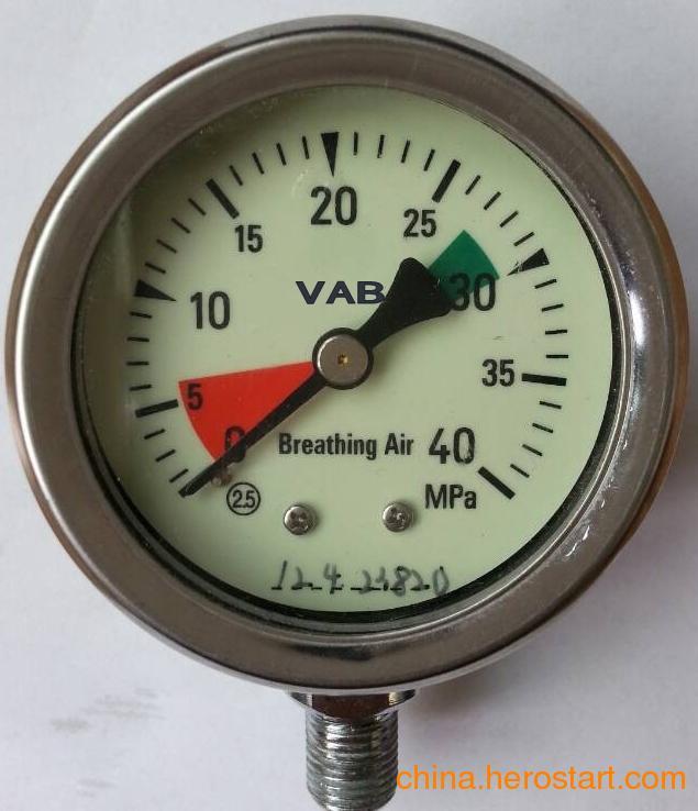 供应VAB高精度夜光显示压力表系列适用于救生装备、消防、石油、矿山、潜水等行业