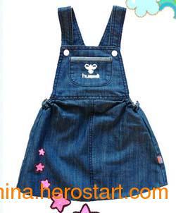 供应外贸休闲女童裙 背带牛仔裙