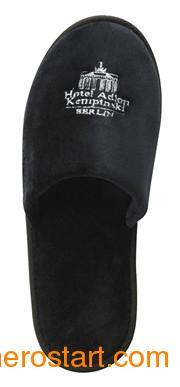 供应客房高档黑色珊瑚绒绣花拖鞋,可OEM