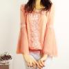 供应2014春装新款女装甜美蕾丝钩花长袖雪纺衫