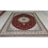 供应古典中国红真丝手工打结客厅地毯