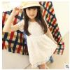 供应2014夏款新款童装 高档蕾丝 苹果花内衬纯棉纯色连衣裙 批发41323