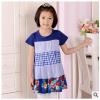 供应2014夏款新款童装女童裙蓝色系列纯棉五拼接连衣裙厂家直销 41325