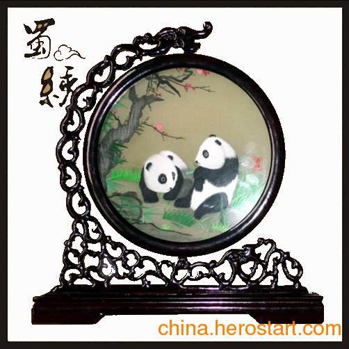 供应熊猫蜀绣梅花双熊四川特色礼品