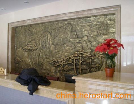 供应电视背景墙雕塑寺庙山水浮雕