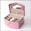 供应欧式皮质扇形首饰盒珠宝饰品收纳盒520女生礼品双层抽屉木质
