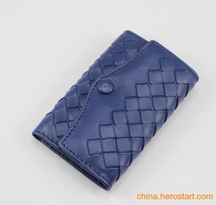供应批发定做羊皮蓝色钥匙包锁匙包时尚小包男女钱包