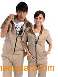 供应工作服订制厂家涤棉斜纹驼色短袖工作服