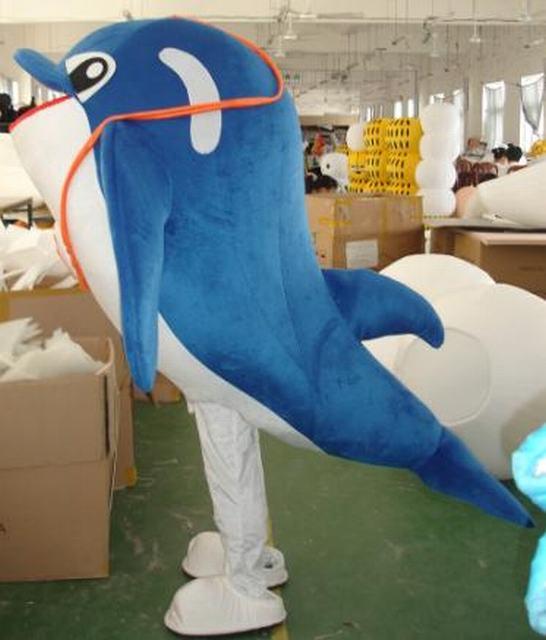 供应海洋动物海豚卡通行走人偶表演服装
