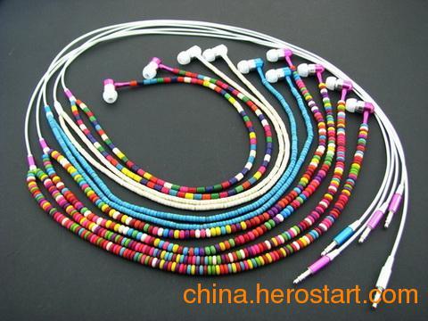 供应仿松石串珠耳机,项链耳机,礼品耳机