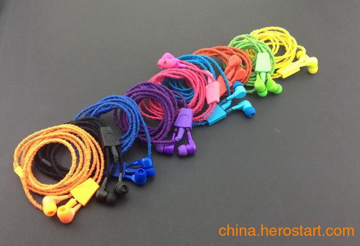 供应手环耳机,彩色编织耳机,入耳式绕线耳机