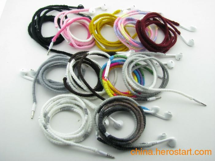 供应带唛耳塞式耳机,彩色绕线耳机,编织耳机