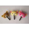 供应顽皮熊PVC手机防尘塞 3D立体卡通耳机防尘塞PVC  手机数码配件