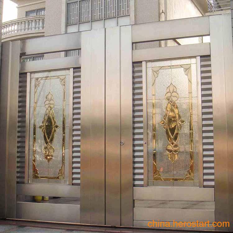 供应拉丝黄钛不锈钢大门 304不锈钢门 厂家定做批发