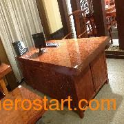 广西地区专业的巴花大板现货特价实木大板桌茶艺桌_崇左广西凭祥红木家具