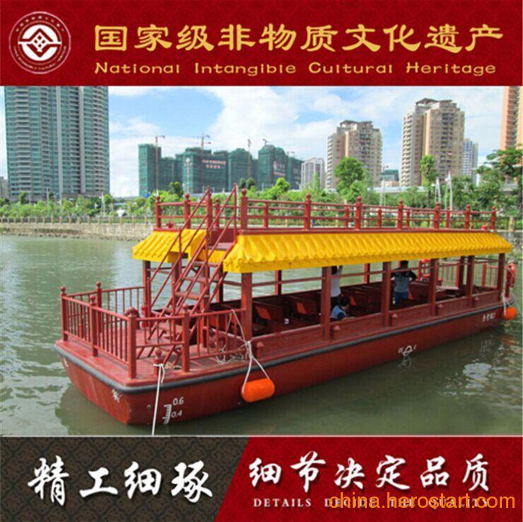 江苏楚风制船厂供应出售观光电动餐饮双层玻璃钢画舫木船