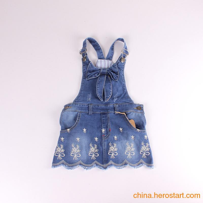 供应儿童女童2015夏装新款 背带 蕾丝 花边 中大童 女童 百搭 牛仔 连衣裙
