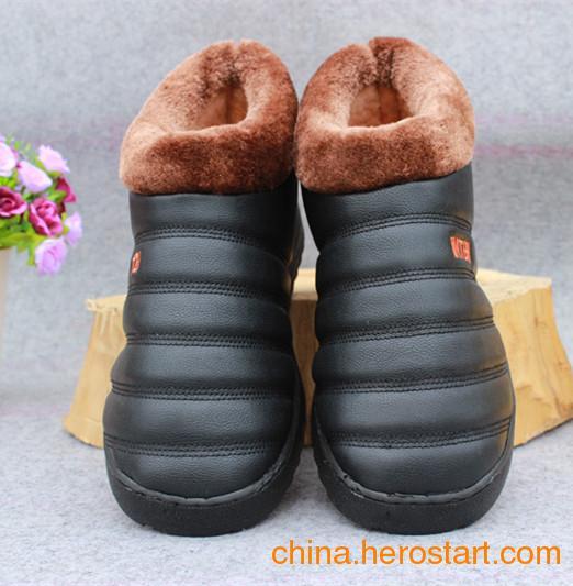 供应黑色户外男童鞋棉鞋批发网毛口加绒棉鞋批发