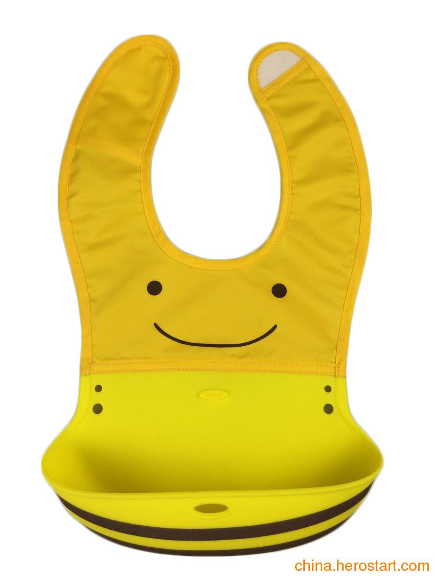 供应婴儿防水硅胶口水兜 立体动物造型围兜